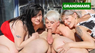 Three Hungry Grannies Finish Up a Cock