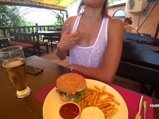 Eating burger and flashing in the cafe Transparent T-shirt No Bra (teaser)