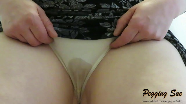 Wet panty masturbation Wetting panties - desperate to pee wife struggles to piss while flashing big tits