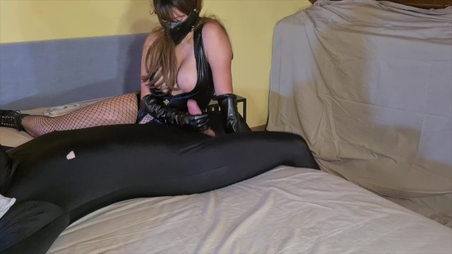Ballet boot fetish Cruel leather femdom mistress with leather gloves ballet boots teases, edges ruins male slave