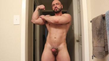 Post workout flex and jerk off