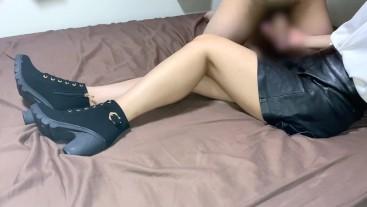 handjob cum onto leather skirt