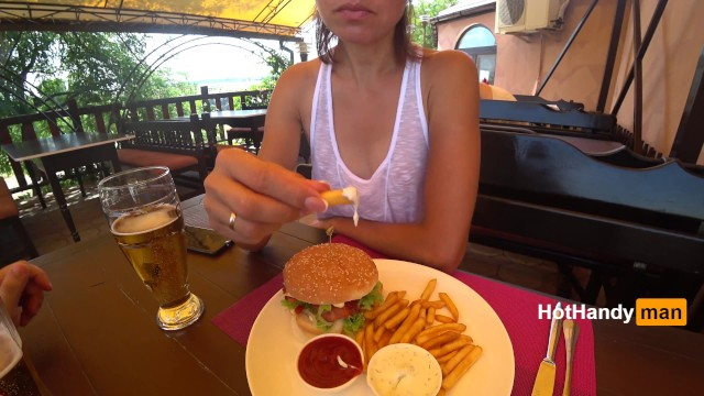 Braless wet t-shirt teen Eating burger and flashing in the cafe transparent t-shirt no bra teaser v2