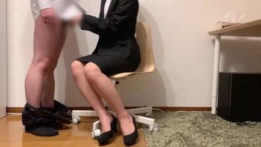 japanese office worker  cum onto office skirt
