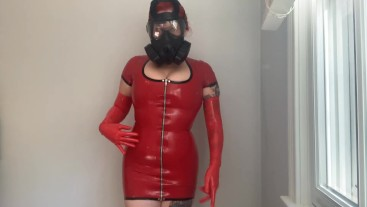 Gas Mask JOI Red Latex Dress and Latex Gloves Rubber Shiny Jerk off instruction