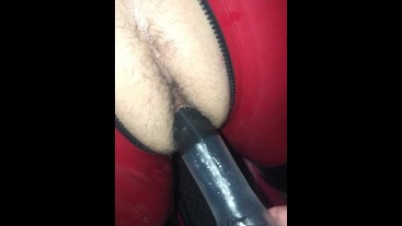 Full playroom meet - Lad in red rubber - Bareback - used - hard play.