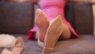 Nude Nylon Feet On The Couch