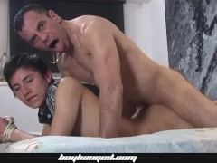 Boy Banged - Cute Boy Gets Bareback Fucked And Used By Two Older Daddies
