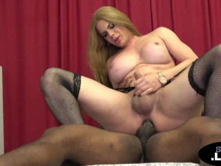 Bigtitted trans blonde gets BBC in her bum