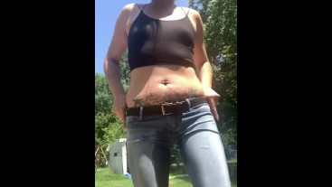 Girl pees her pants, desperate to pee herself