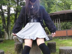 Cute Transgender Honoka Masturbation And Cums In Outdoor Exposure.