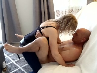 Hot strapon pegging on the sofa with big cum facial - MIN MOO