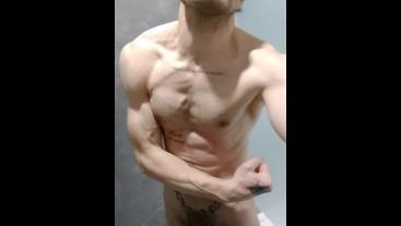 Shower scenes. Fit body. Ass. Cock. Balls. Flexing muscles.