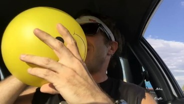 Sweaty Ass Dude N Car Plays With Balloons