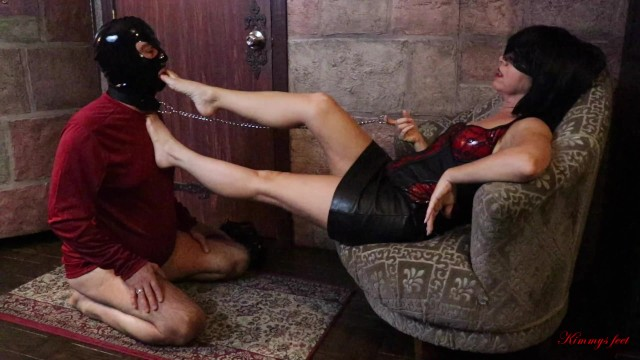 Plus size sex slaves Femdom foot gagging throat fuck chastity cock cage slave chokes on size 5 feet in kimmys dungeon