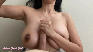 Thick Asian knows how to titty fuck (look at this huge cumshot)