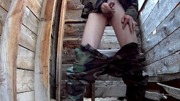 Hung Miltary Soldier Wearing Boots - Wanking Squirting and Whaling Loud