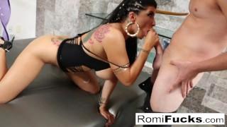 Romi Rain makes Van's dick spooge all over her face!