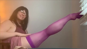 Spellbound Magical Stockings and Legs Sexy Calves Calf Muscle Fetish Purple Thigh Highs