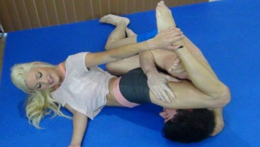 Mixed Wrestling and Ballbusting with Cameron Dee