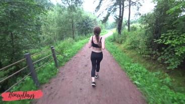Cumshot on leggings of athletic beauty after jogging