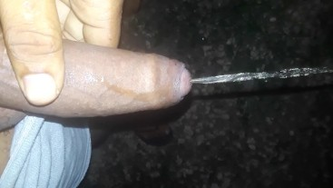 Ebony big black cock pissing