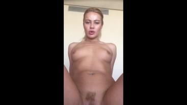 POV blonde babe fucks step bro after school