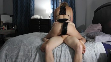 Amateur PAWG gives blowjob and rides cock in Kitty cosplay with ears, mask, and butt plug tail