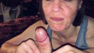 POV Mature Hot Wife giving a lucky guy a sloppy blow job and swallowing every last drop of cum