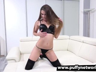 Preview 1 of Hot Tattooed Brunette Cums Hard with Black Dildo