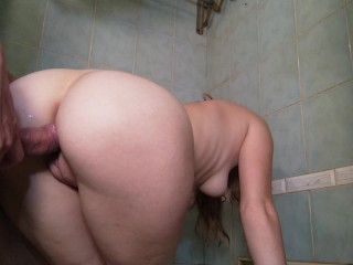 Taking a shower, blowjob hot standing sex in the bathroom, wet soapy bath sex doggystyle creampie