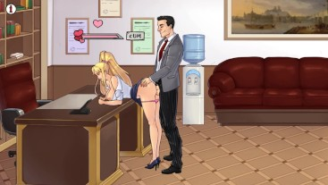 TheLewdKnight (part 3). First day at work, sex with the boss | porno game 3d