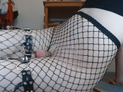Femboy trap cums from riding big dildo