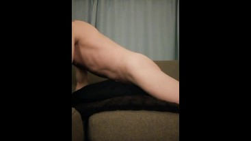 Pillow humping masturbation solo on the couch