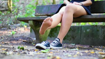Playing With My Pantyhose Feet And Converse On A Parkbench