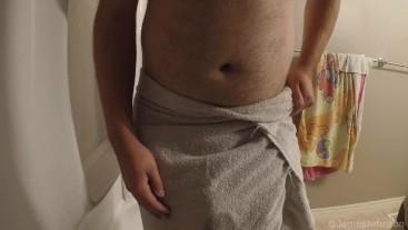 Guy In Towel Wets Himself