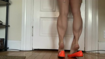 Muscular Calves in Orange Flats