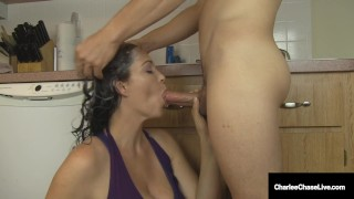 Busty Cougar Charlee Chase Loves Sucking Cock & Washing Hair