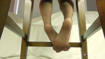 Under Chair Pantyhose Foot Play