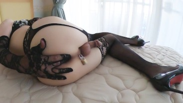 I played a little bit of exposure, put on my lace gloves and masturbated.