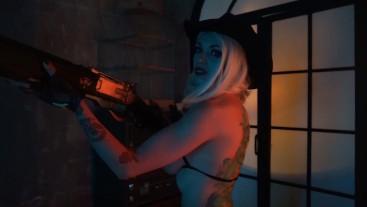 Ashe Overwatch ero topless cosplay