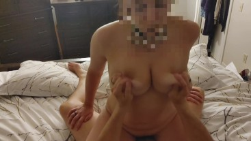 EliseAndRandy - Amateur Milf rides cock, bounces her big tits while moaning and cumming