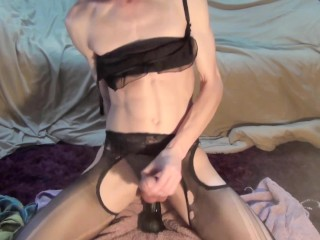 Amateur CD femboy in tight panties cums fucking big black dildo