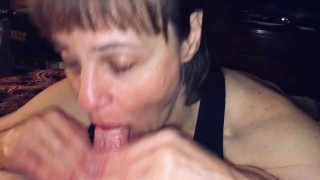 POV Mature Hot Wife sucking cock while I ask questions and film