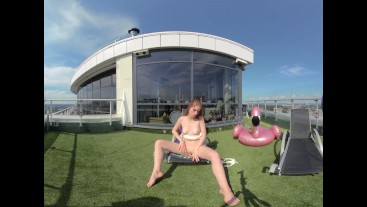 Hot Babe and Bubbles sun bathing goddess in VR180 virtual reality video
