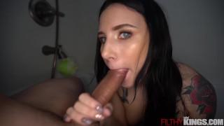 Screen Capture of Video Titled: Hot Teen Stella Rae Sucks Big Dick in the Shower