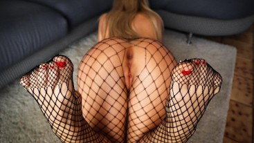 Let Her RIDE my COCK for the First Time with her Fishnet Stockings