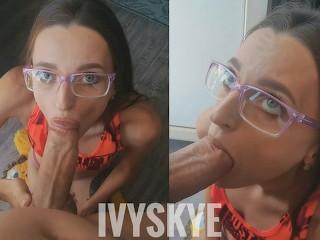Nerdy girl in glasses sucks her boyfriend's dick. Ivy Skye