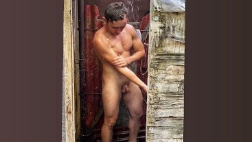 Hot Fit Guy in Shower Outdoor