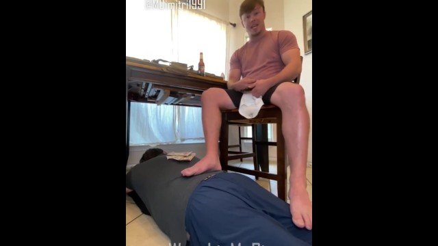 Gay leather male master Master dimitri cleans guns with a faggot at his feet